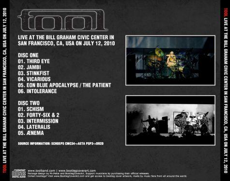 BootlegCoverArt :: Tool - Tool 2010-07-12 SanFranciscoCA CD